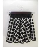 フレア スカート ミニ ショート 総柄 花 白 黒 ホワイト ブラック size130