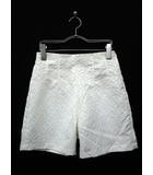 ザラ ZARA BASIC キュロット パンツ スカート ショート ストレッチ イージー 花柄 S 白 ホワイト
