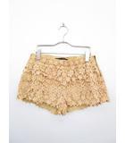 ザラ ZARA BASIC パンツ ショート キュロット スカート 刺繍 花柄 ティアード L オレンジ