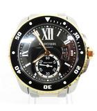 カルティエ Cartier CRW7100054 カリブル ドゥ カルティエ ダイバー ウォッチ 腕時計 自動巻き 黒文字盤 ステンレス ゴールド ☆AA★