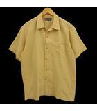 チャップス CHAPS ラルフローレン シャツ 半袖 コットン 黄 白 L シアサッカー 格子柄