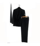 mer ブラックスーツ セットアップ ジャケット ピークドラペル ダブル パンツ ネクタイ付き ブラック 黒 M