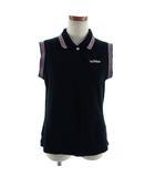 アディダス adidas ポロシャツ ノースリーブ 刺繍 ロゴ ブラック 黒 ピンク L