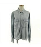 ザラ ベーシック ZARA BASIC シャツ ワークシャツ 長袖 ロールアップ デニム調 水色 M