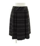 リフレクト Reflect スカート ひざ丈 フレアー ボーダー ウール混 グレー ベージュ 白 7