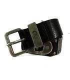 ディーゼル DIESEL ベルト レザー 牛革 スタッズ ロゴプレート ラック 黒 シルバー 90