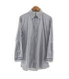 シンプリシテェ SIMPLICITE PLUS シャツ 七分袖 切替 ストライプ ネイビー 紺 ホワイト 白 38