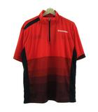 ディアドラ DIADORA Tシャツ 半袖 ハーフジップ グラデーション 赤 レッド 黒 ブラック 0