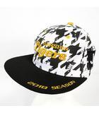 阪神タイガース キャップ 刺繍 総柄 ブラック 黒 ホワイト 白 イエロー黄色 F