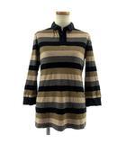 スウィンスウィング SWINSWING ポロシャツ 七分袖 スキッパーカラー リネン混 切替 日本製 ボーダー ネイビー 紺 グレー ベージュ ブラウン 茶 40