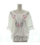オリーブデオリーブ OLIVE des OLIVE カットソー 七分袖 花柄 刺繍 レースアップ ホワイト 白 M