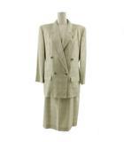 ダックス DAKS スーツ スカートスーツ セットアップ ジャケット ダブル スカート ミディ丈 シルク混 チェック ベージュ グリーン 緑 グレー 11AR