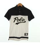 ポロ ラルフローレン POLO RALPH LAUREN ポロシャツ 半袖 ワッペン コットン バイカラー ネイビー 紺 ホワイト 白 XS