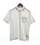 ナイキゴルフ NIKE GOLF シャツ 半袖 ボタンダウン 切替 ロゴ 刺繍 ゴルフウェア ホワイト 白 L