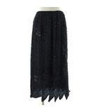 スカート ロング スパンコール ビーズ刺繍 総柄 社交ダンス シルク100% ブラック 黒