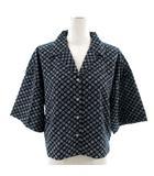 ジーナシス JEANASIS シャツ 半袖 ビッグシルエット 総柄 ブラック 黒 ブルー 青 ホワイト 白 F