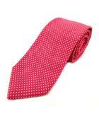 ブリュアー BREUER ネクタイ シルク ドット柄 水玉 ピンク系 オフ白