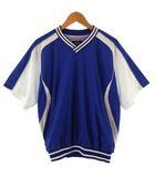 ゼット ZETT ジャケット ナイロン 半袖ピステ 裏地メッシュ 野球 ベースボール ブルー 青 白 L