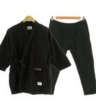 クライミー CRIMIE 甚平 セットアップ トップス 半袖 バックプリント パンツ コットン ブラック 黒 ホワイト 白 L