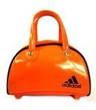 アディダス adidas ボストンバッグ ミニボストン ハンドバッグ バッグ エナメル ロゴ プリント オレンジ ネイビー 紺