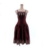 エクサントリーク EXCENTRIQUE ワンピース ドレス カラードレス キャミソール ひざ丈 刺繍 ラメ 編み込み エンジ シルバー 2