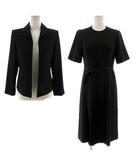 For LOVELY WOMAN ブラックフォーマル セットアップ ジャケット ステンカラー ワンピース 半袖 ミディ丈 ブラック 黒