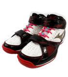 ミズノ MIZUNO ウエーブ リアル グラスプ バスケットボールシューズ 13KL33009 ロゴ プリント ブラック 黒 ホワイト 白 レッド 赤 23.5