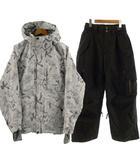 キスマーク Kissmark セットアップ 上下セット スノーボードウエア 中綿入り ジャケット フーデッド 総柄 ホワイト 白 グレー ブルー パンツ ブラック 黒 M S