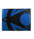 財布 二つ折り財布 総柄 ブルー 青 ブラック 黒
