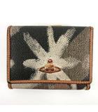 財布 三つ折り財布 がま口 PVC レザー ロゴ 総柄 ブラウン 茶 グレー ベージュ