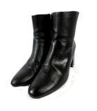 ザラ ベーシック ZARA BASIC ブーツ ショートブーツ 靴 サイドファスナー ブラック 黒 23.5