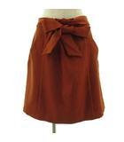 グローブ grove スカート ひざ丈 フレアー ベルト付 オレンジ系 オレンジブラウン M