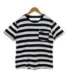 ブルーブルー BLUE BLUE Tシャツ 半袖 丸首 ボーダー ポケT コットン ネイビー 紺 ホワイト 白 S