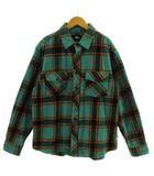 ステューシー STUSSY シャツ ネルシャツ 長袖 コットン 厚手 チェック エメラルドグリーン ブラック 黒 オレンジ レッド 赤 M