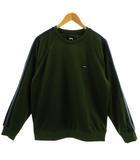 ステューシー STUSSY トレーナー ジャージ 長袖 ロゴ ワッペン 日本製 グリーン 緑 ライン ネイビー 紺 パープル 紫 L