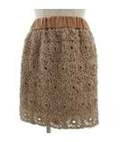 ノーリーズ Nolley's スカート ミニ タイト ウエストゴム 花モチーフ 立体 ブラウン 茶 36