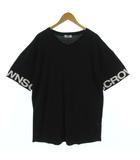 Tシャツ カットソー Vネック 半袖 ロゴプリント ビッグサイズ ブラック 黒 ホワイト 白 F