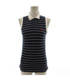ポロシャツ ノースリーブ ボーダー 刺繍 コットン ネイビー 紺 ホワイト 白 12