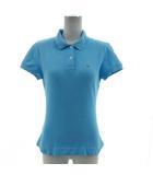 ポロシャツ 半袖 刺繍マーク シンプル コットン混 ブルー系 青系 40