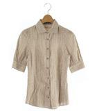 シャツ カジュアル ストライプ ロゴ 五分袖 38 白 茶色 /SR14