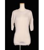 ルイヴィトン LOUIS VUITTON カットソー ニット リボン装飾 五分袖 カシミヤ M 白 ホワイト aan0418