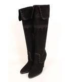 エルメス HERMES ブーツ ロング スウェード 刺繍 35 黒 ブラック /yo0524