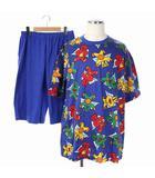 カステルバジャック CASTELBAJAC セットアップ 上下 パジャマ ナイトウェア Tシャツ 半袖 パンツ ショート ハーフ L 青 マルチカラー /DF