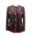 グッチ GUCCI ノーカラージャケット 革ジャン ラムレザー 羊革 パールGGボタン リボントリム イタリア製 36 XS 黒 ブラック 502670 /KH