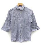 ガイジンメイド GAIJIN MADE Chiang Mai Deluxe シャツ ストライプ 七分袖 丸襟 コットン100% 水色 青 1 /FK