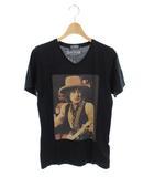ヒステリックグラマー HYSTERIC GLAMOUR カットソー Tシャツ 半袖 Vネック プリント S 黒 /MY