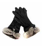 トゥモローランド TOMORROWLAND 手袋 グローブ レザー シルク ファー 黒 /YI17