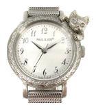 ポール&ジョー PAUL&JOE 腕時計 クォーツ ねこモチーフ TIMELESS CAT PJ-9007 シルバー色 /YI32