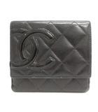 シャネル CHANEL カンボンライン 財布 二つ折り Wホック エナメルレザー ブラック 黒 A50099 /YO20
