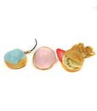 キューポット Q-POT 3点セット シュークリームセット ストラップ ネックレス 指輪 12号 水色 ピンク ベージュ /YI14